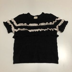 Kate Spade Black and Ivory S/S Ruffled Sweater